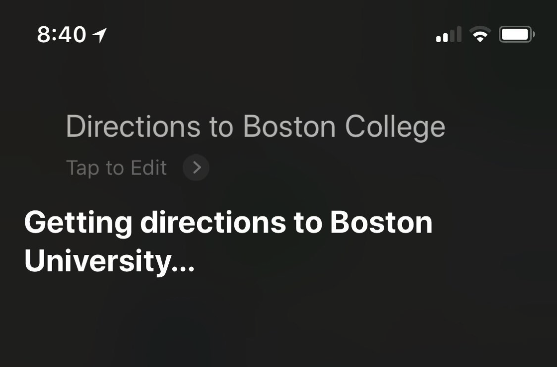 Image of a Siri screenshot showing directions to Boston College interpreted as Boston University.