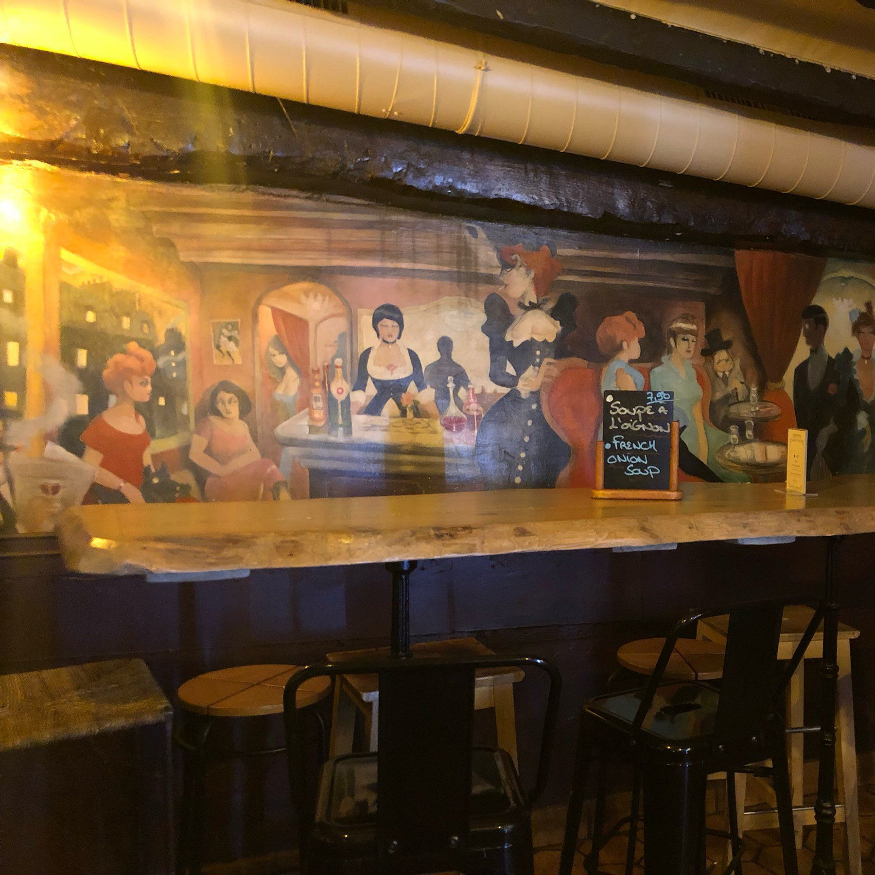 Interior picture of wall art depicting vintage French bar scene.