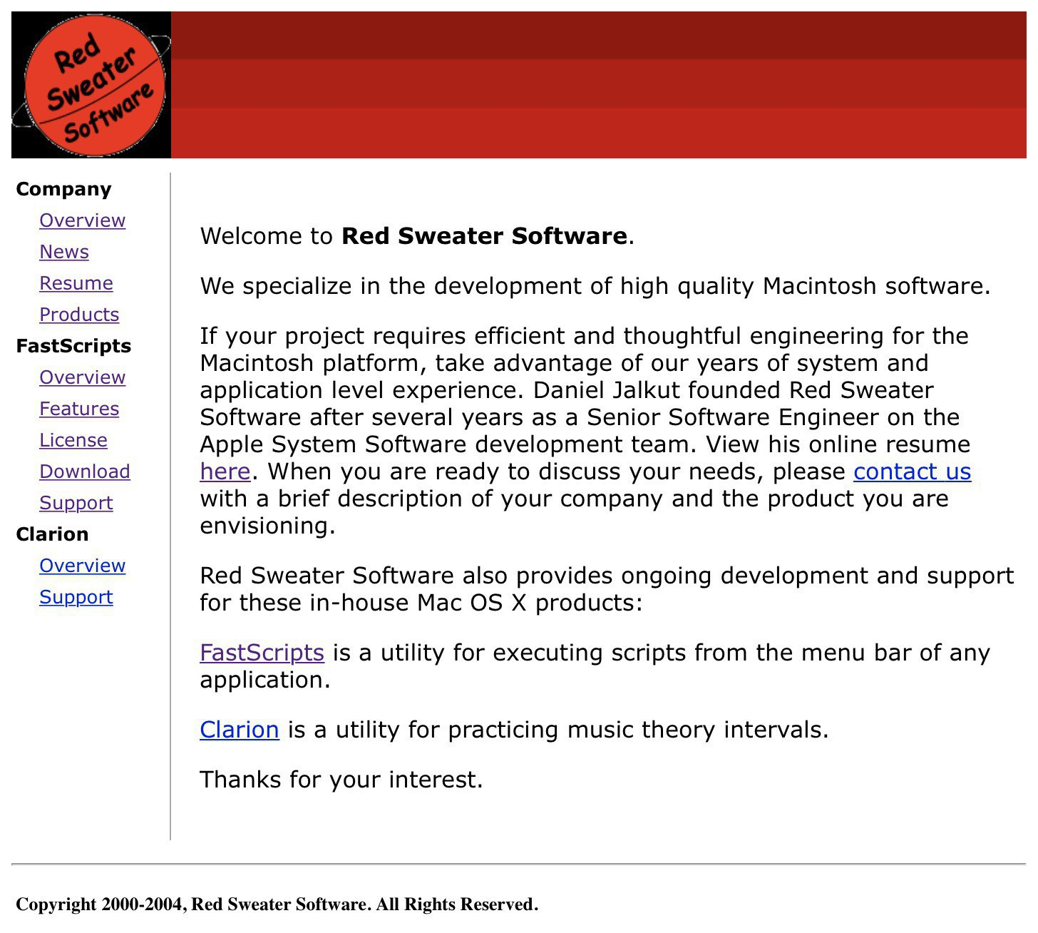 "Screen capture of the Red Sweater home page as it appeared in 2004, featuring a ""red planet"" logo."