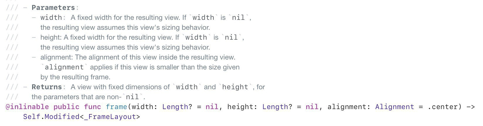 Screenshot of SwiftUI method declaration for View.frame, showing nullable width and height parameters.