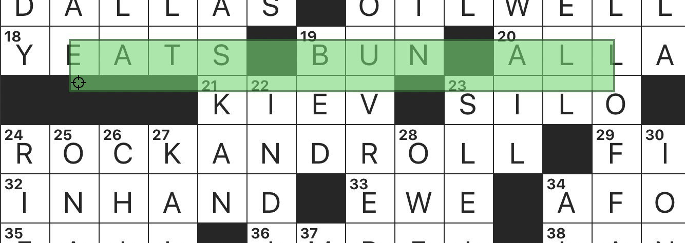 "Screenshot of a crossword grid with the wrong portion of the screen selected, highlighting the accidental phrase ""eats bun all""."
