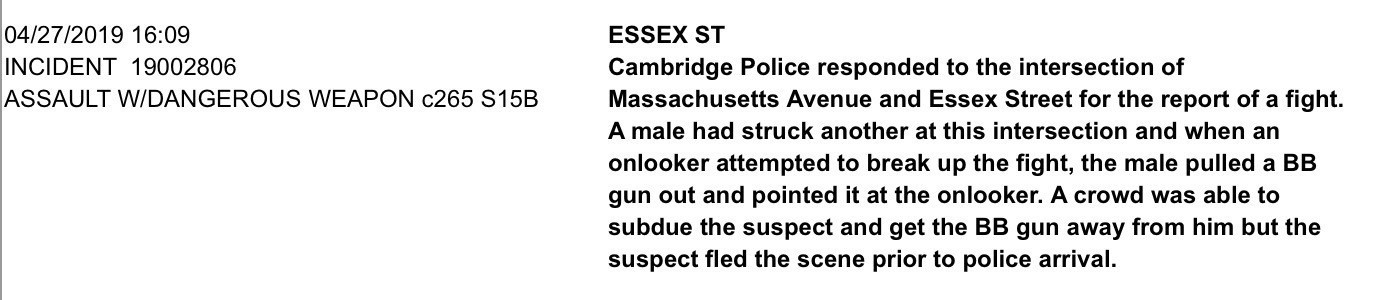"Image of excerpt from linked police report at ""Essex St"""
