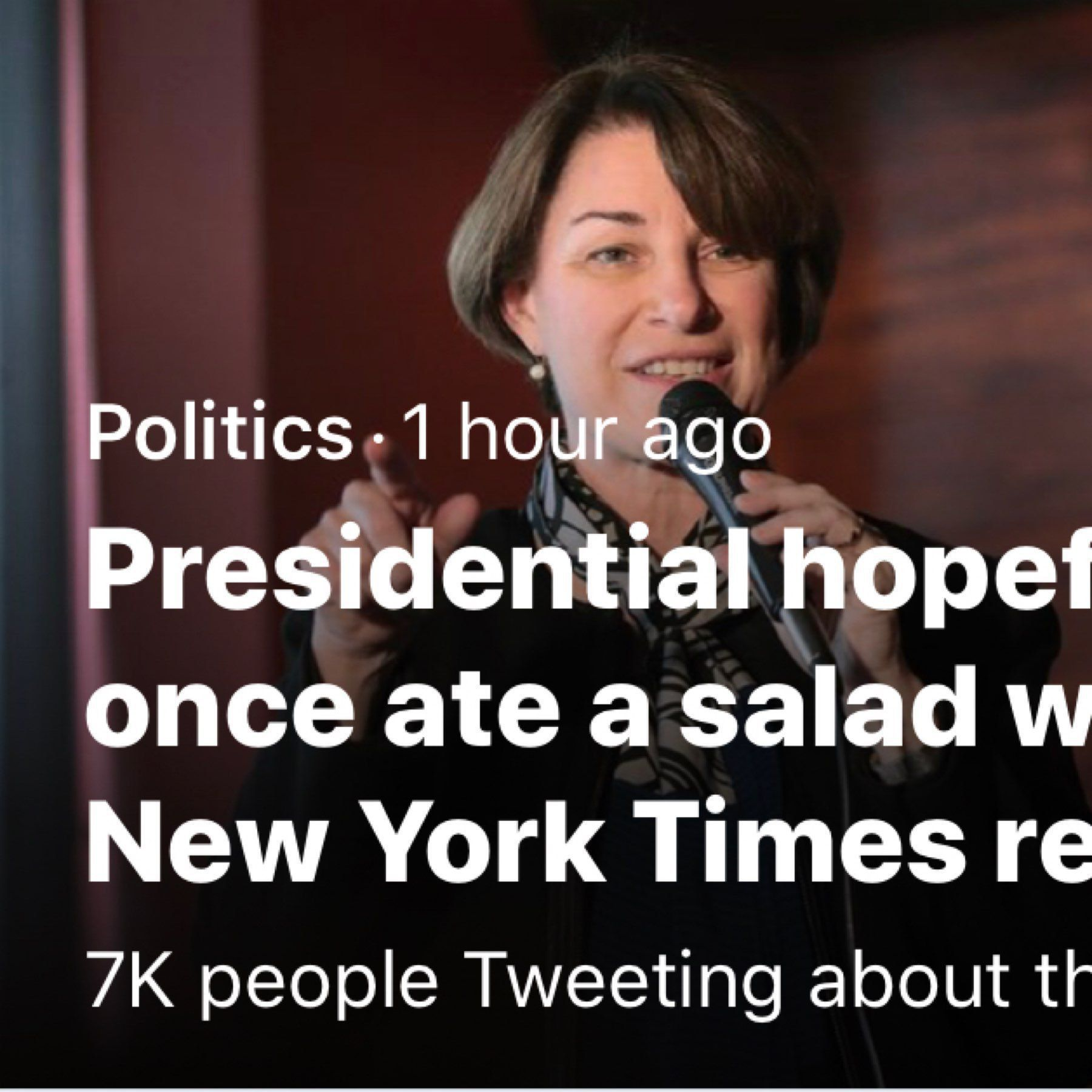 "Screenshot of New York Times headline ""Presidential hopeful Klobuchar once ate a salad with her comb"""