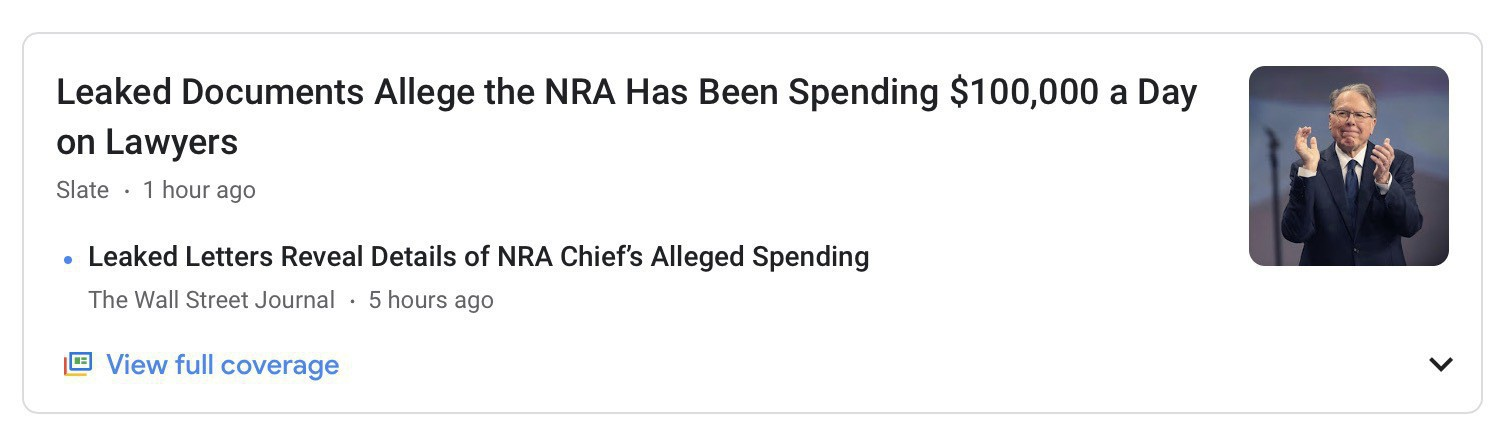 "Screenshot of news headline: ""Leaked Documents Allege the NRA Has Been Spending $100,000 a Day on Lawyers."""