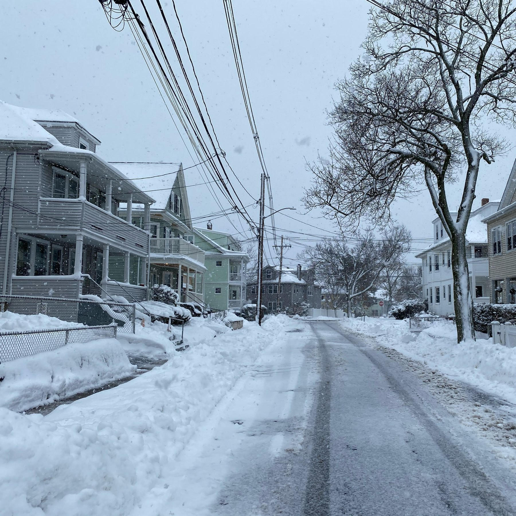 Snow covered New England street.