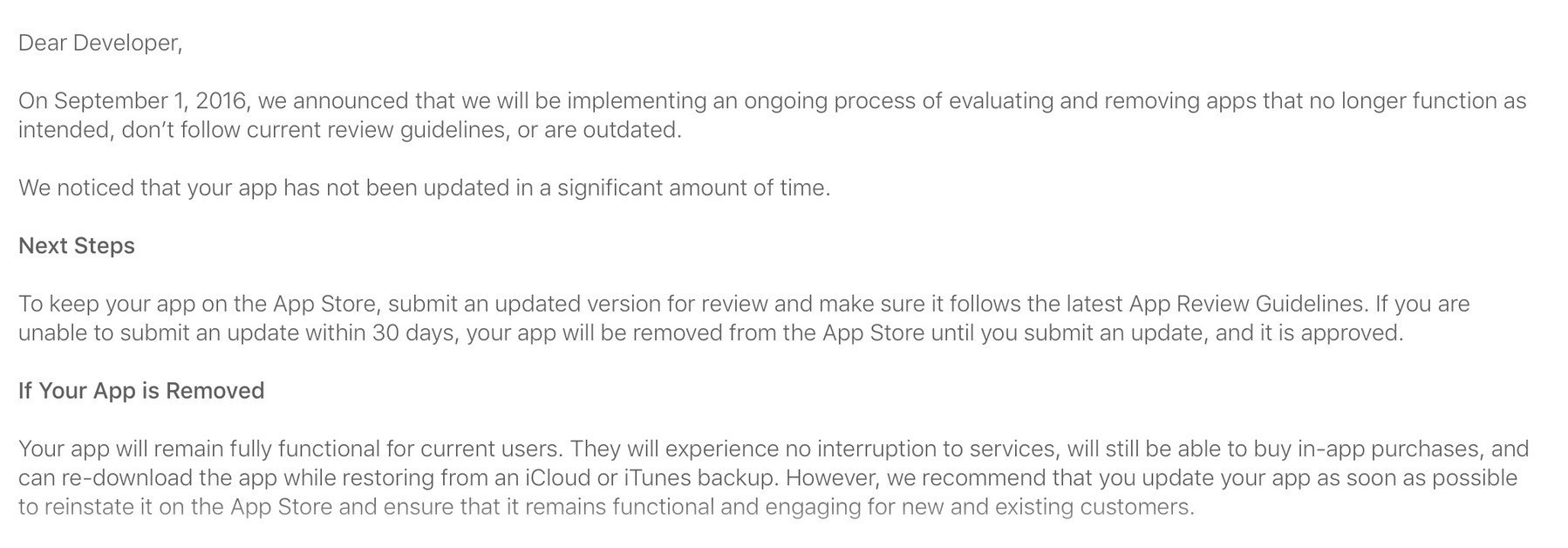 Screenshot of notice from Apple that an iOS app must be updated within 30 days or face removal.