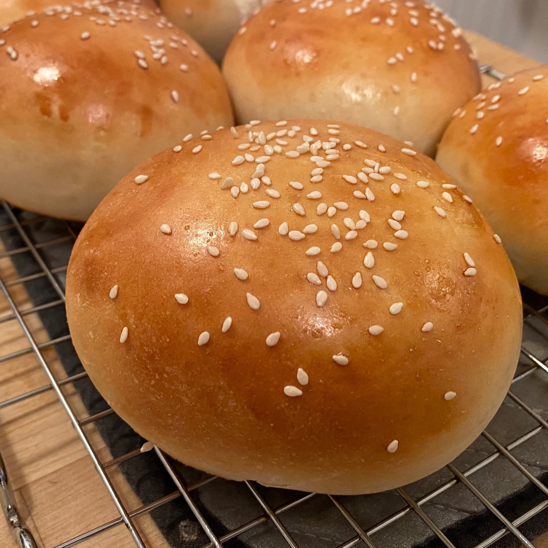 picture of browned homemade hamburger bun with sesame seeds