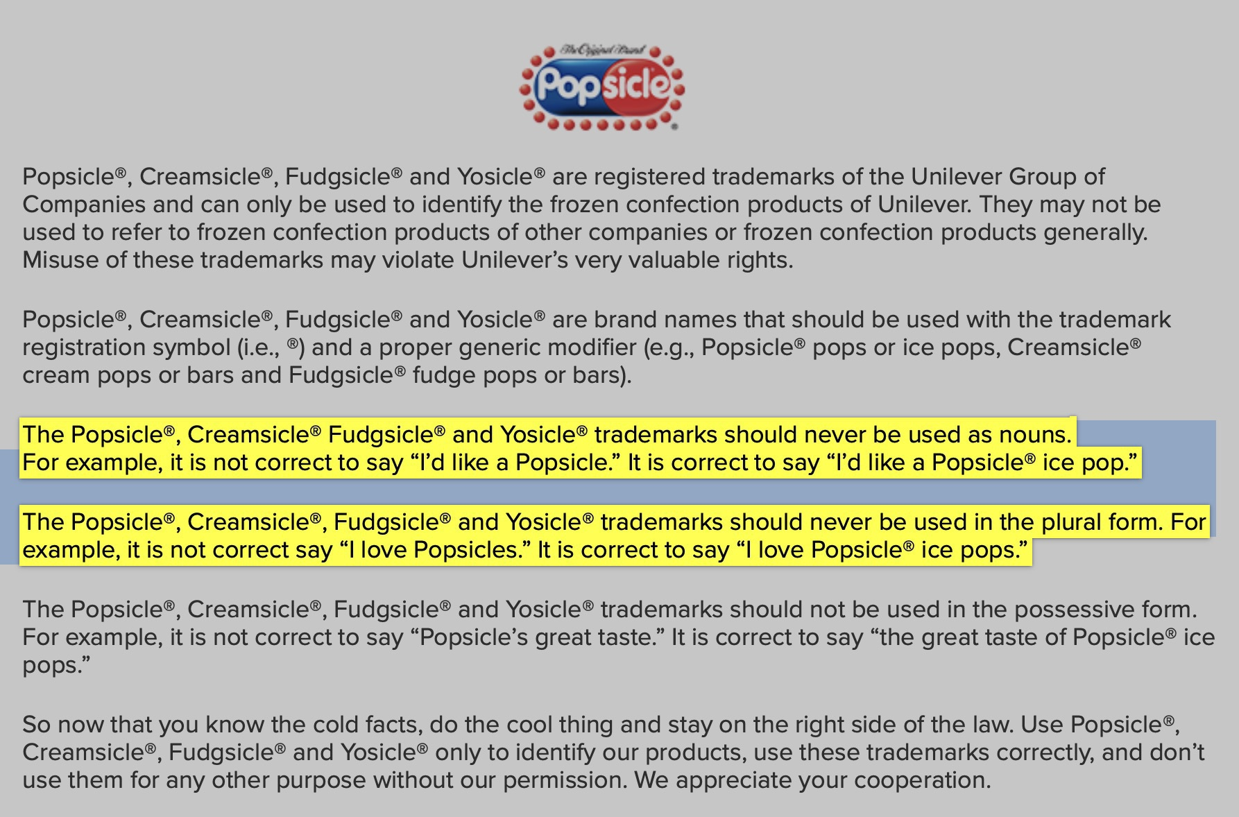 "Screenshot of FAQ from the Popsicle® company insisting that you shouldn't refer to Popsicle® ice pops as just ""Popsicles."""
