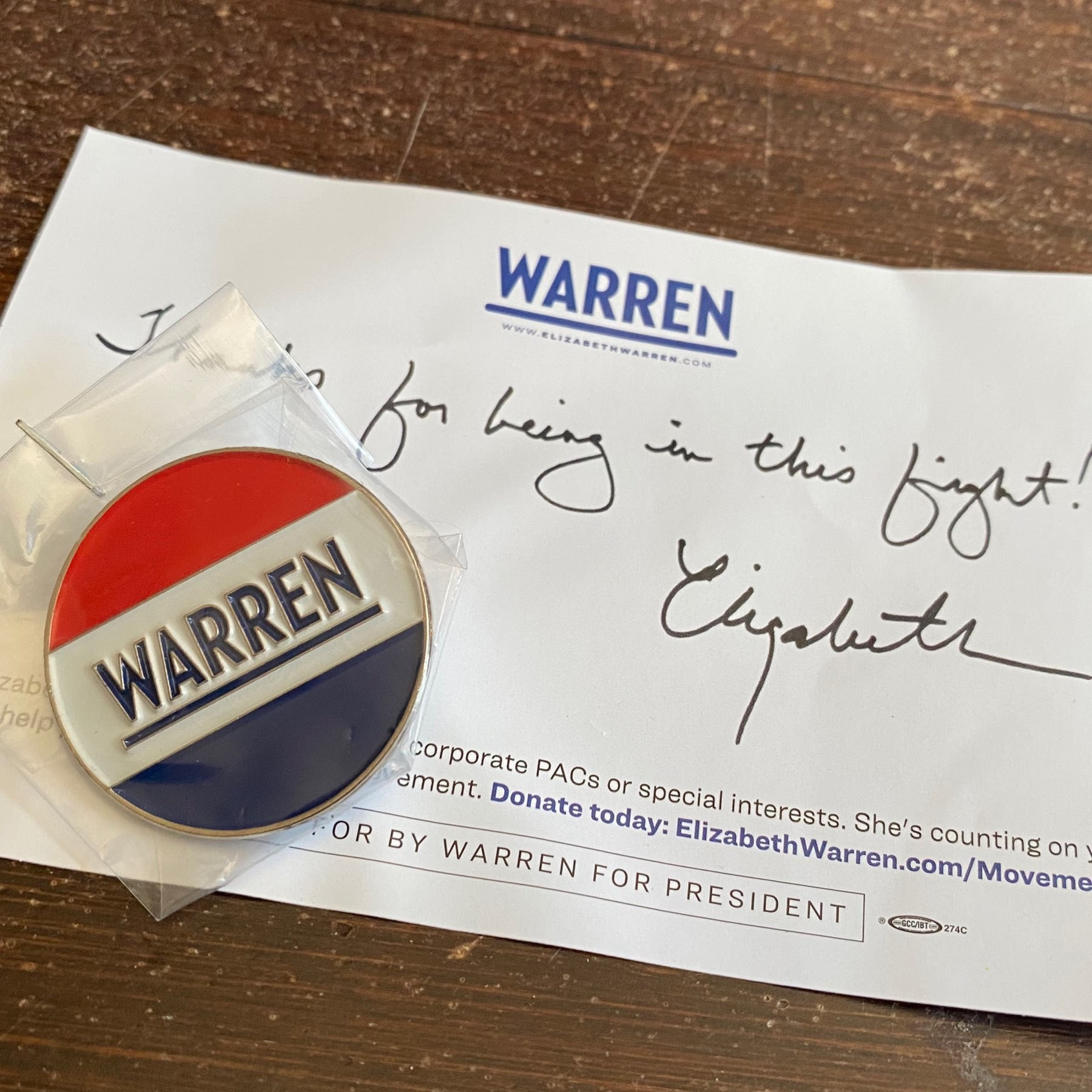 thank you note and enameled pin from Warren for president