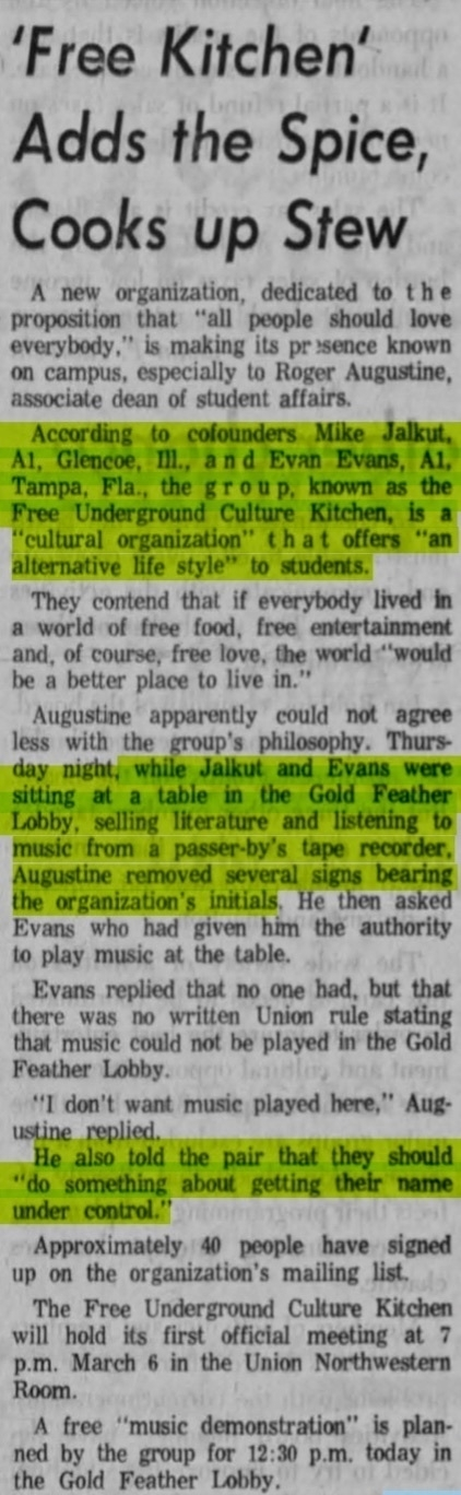Newspaper clipping with highlighted text detailing the actions of a 1969 University of Iowa club, known as the Free Underground Culture Kitchen.