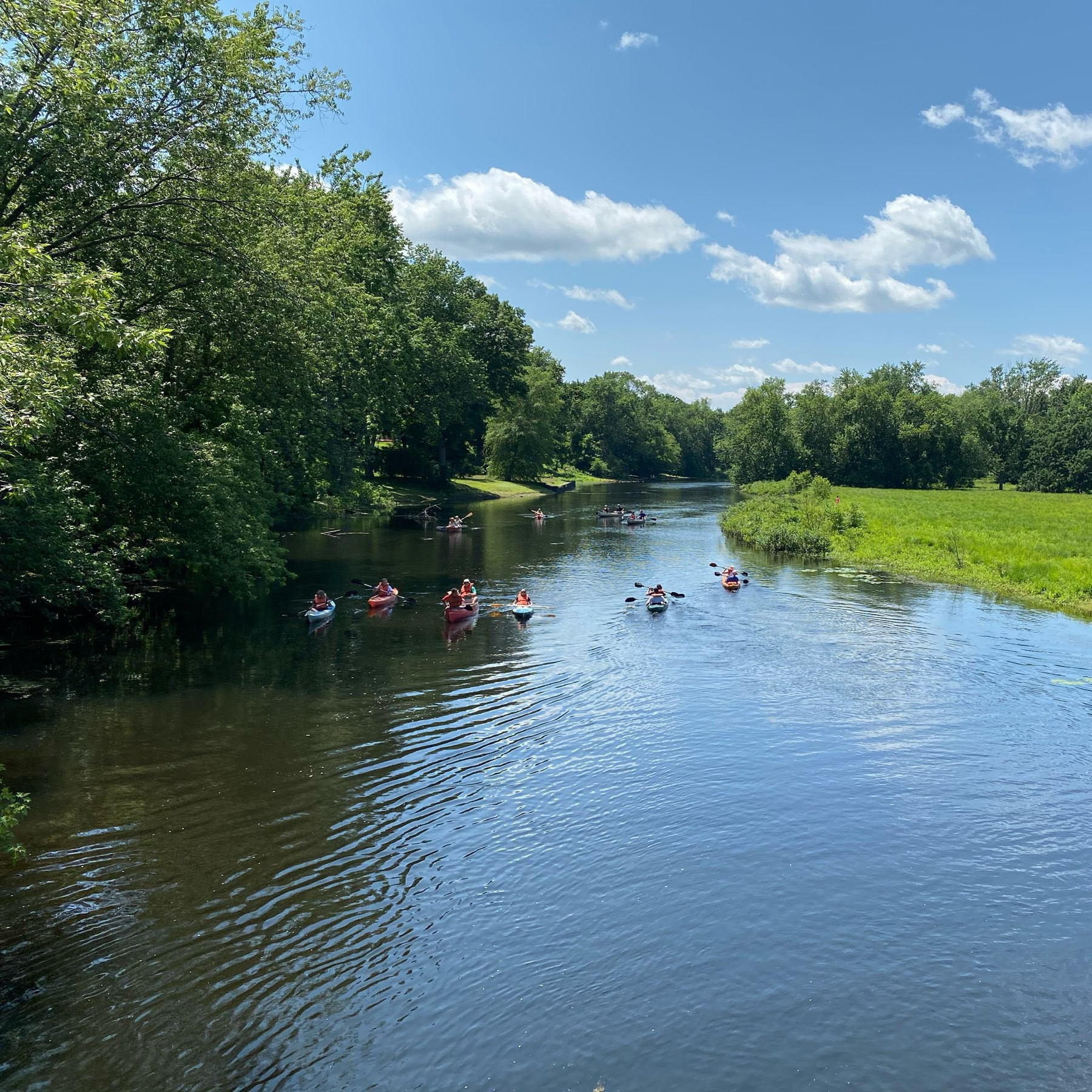 a wide tree lined river with people kayaking and canoeing