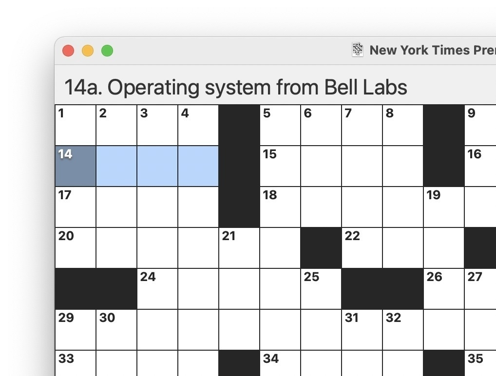 "Screenshot of a crossword grid with 14 across highlighted, 4 letters, ""Operating system from Bell Labs"""