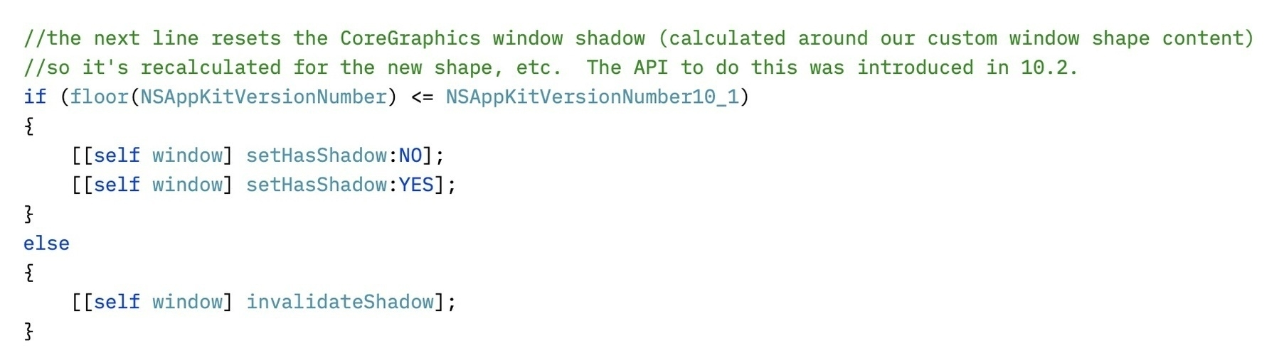 Screenshot of source code showing comments about NSWindow invalidateShadow not being available until Mac OS X 10.2.
