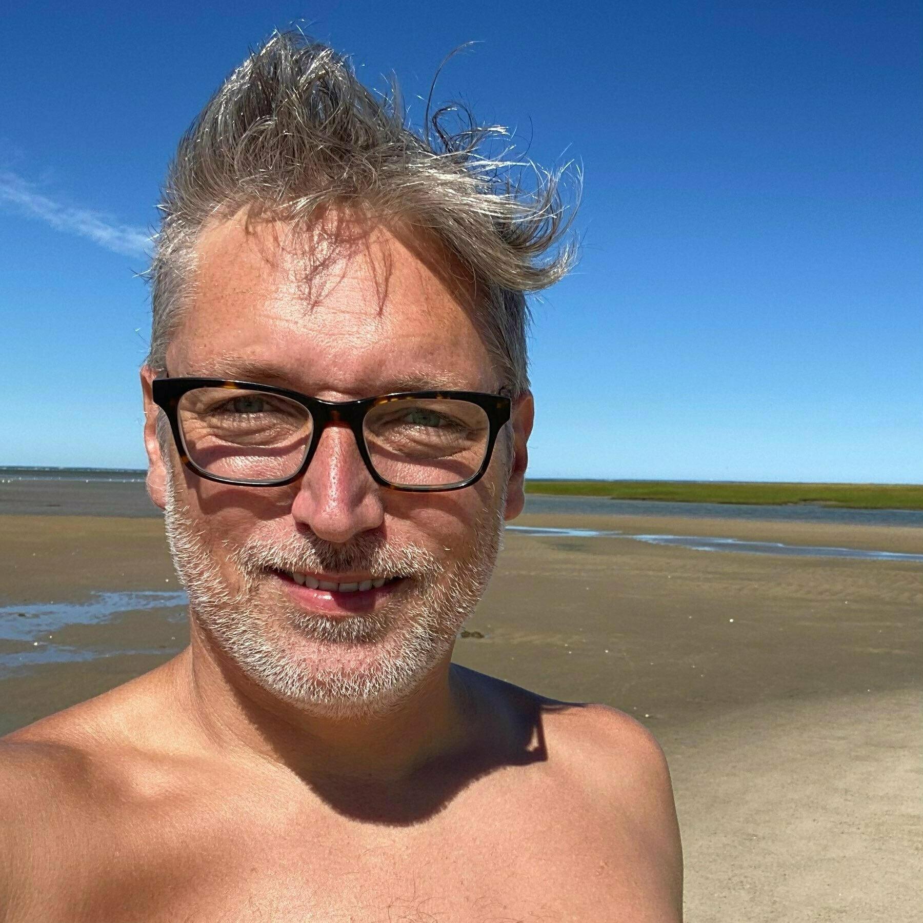 Selfie with no shirt, hair pointing in two Got my hair fixed up real nice. directions, and a long flat beach behind me.