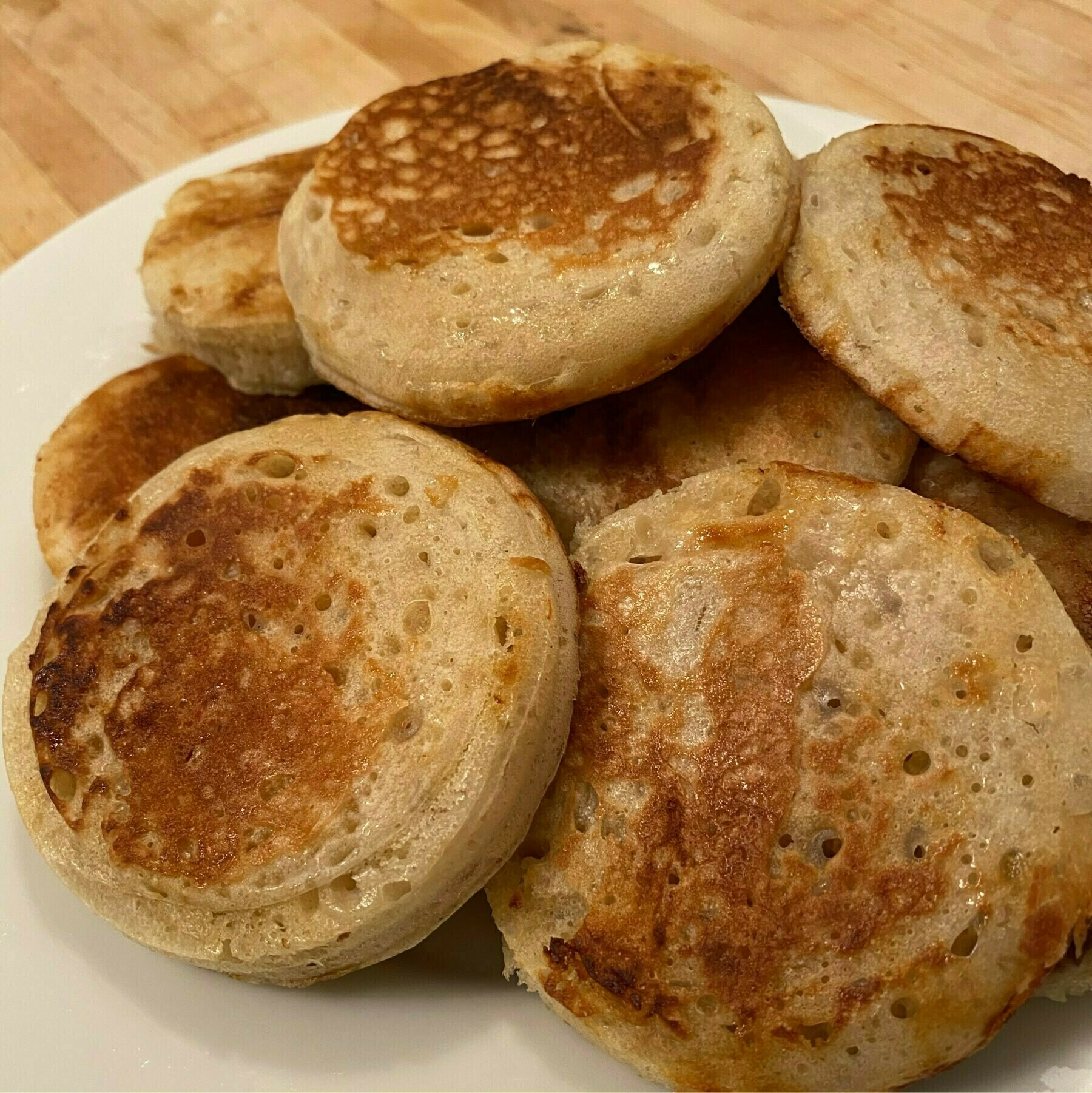 pile of baked crumpets