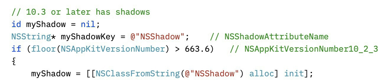Screenshot of source code checking programmatically for the existence of NSShadow based on AppKit version.