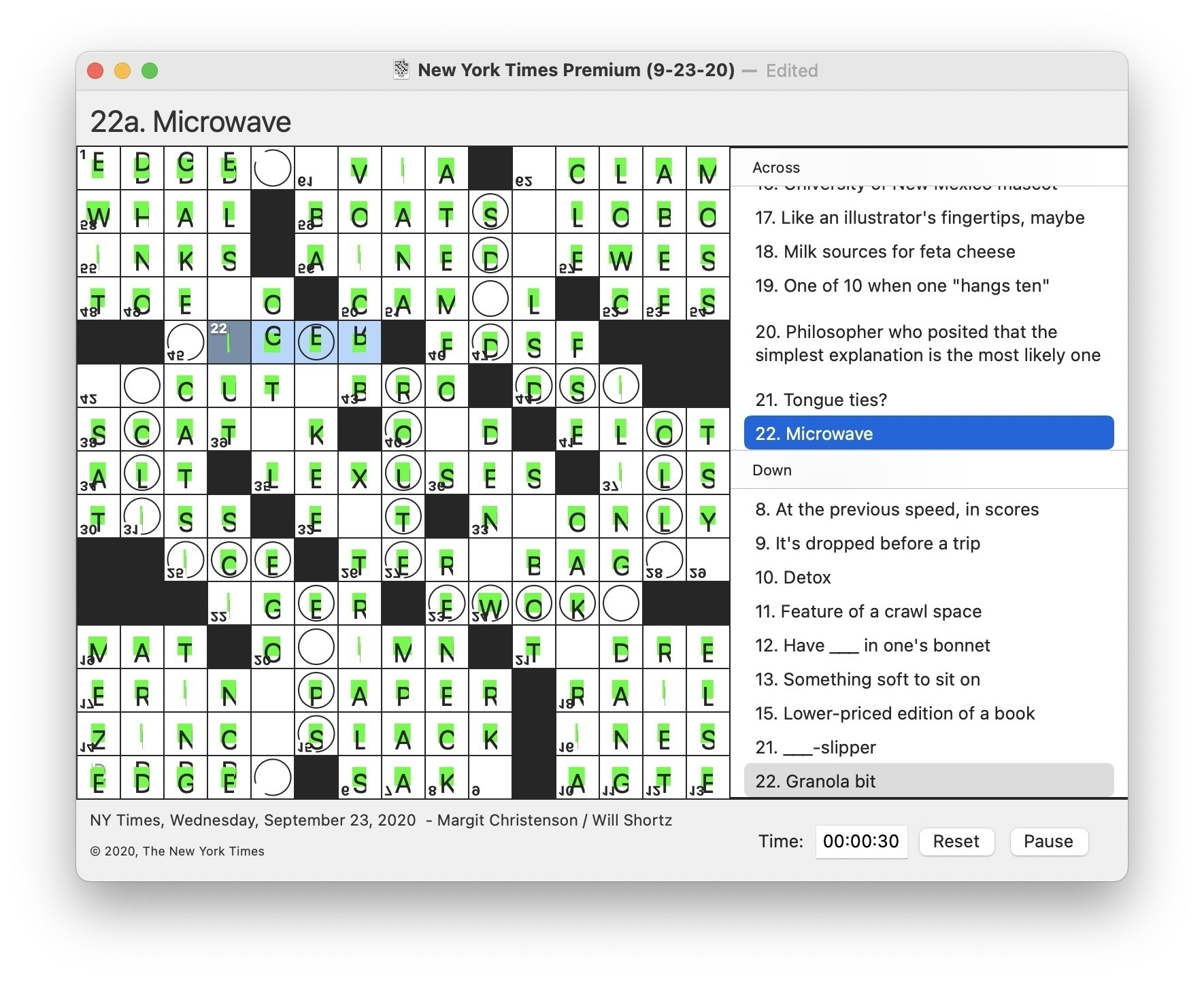 Screenshot of Black Ink with garish green highlights, clipped text, and upside-down clue numbers.