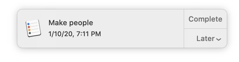 """Siri-based reminder to """"Make people."""""""