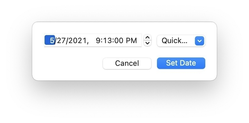 Screenshot of a panel with fields allowing for the setting of a date and time. No icon in the panel.