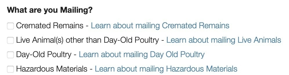 Screenshot of checkbox options from USPS listing options for Cremated Remains, live animals other than day-old poultry, day-old poultry, and hazardous materials.