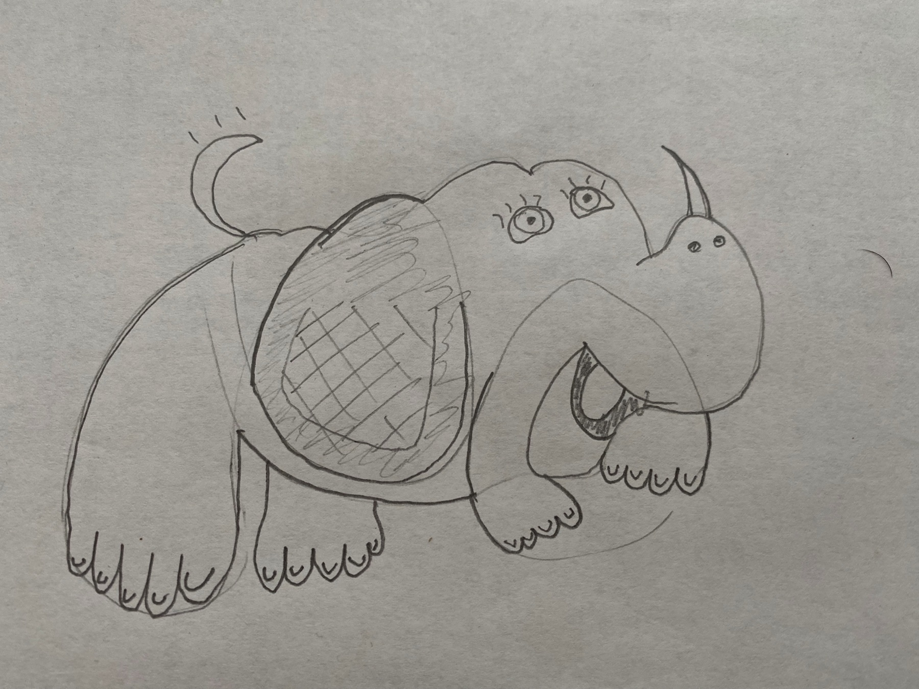Drawing of a vaguely elephantine, rhinocerous-like creature with human-styled hands and feet.