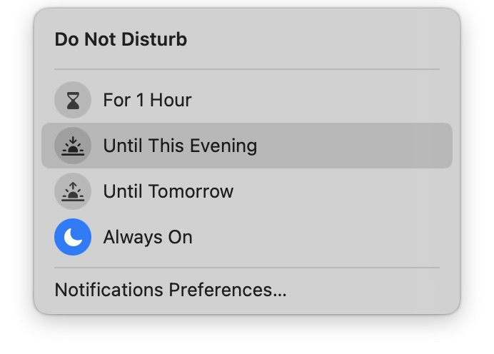 """Screenshot of Do Not Disturb options with """"Always On"""" selected."""