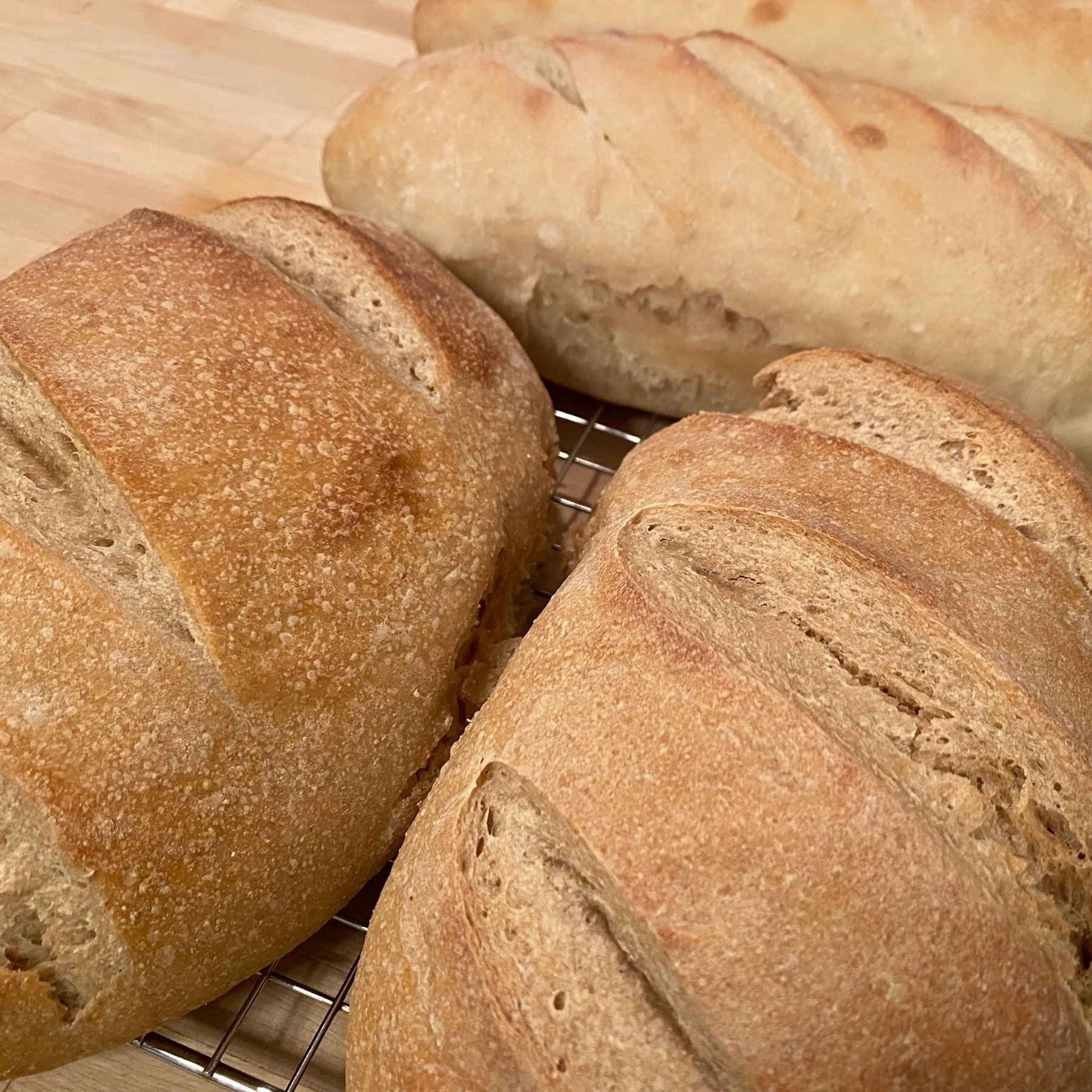picture of multiple loaves of baked bread with deep slashes