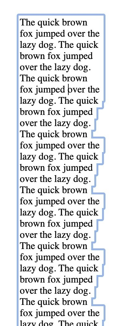 Screenshot of a block of text with a very ragged selection border.