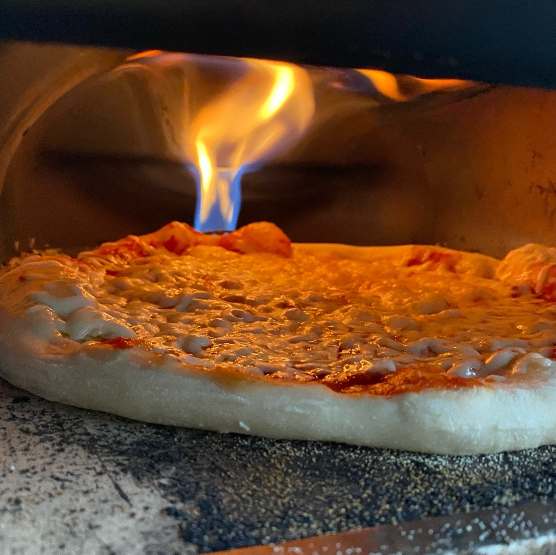 picture of a pizza baking in an oven with prominent flame